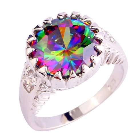 Mystical Rainbow Topaz~Circle Ring - Sacred Motivation