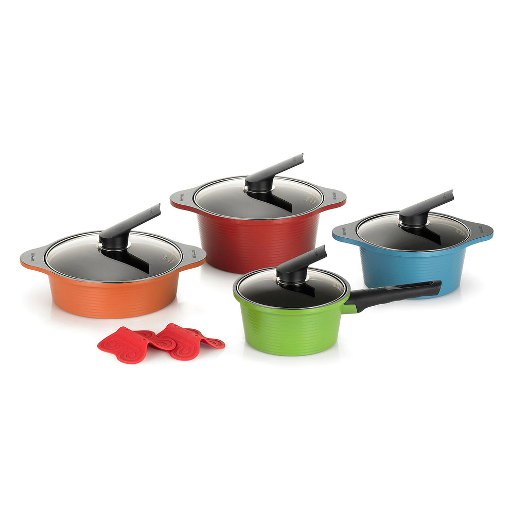 Ceramic coated cookware vs hard anodized nonstick for Kitchen set environment