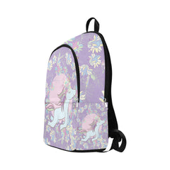 Flowers and Unicorn Fabric Backpack for Adult (Model 1659)