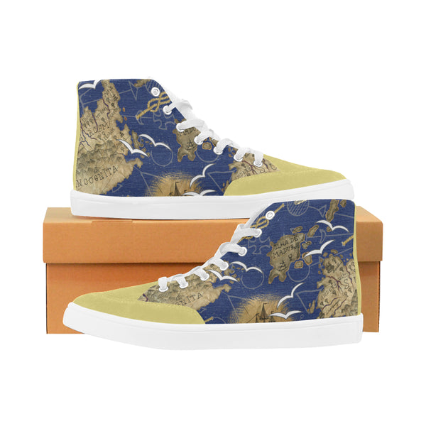 Colorful Pattern with Fantasy Land and Old Ship Custom Design High Top Shoes for Men