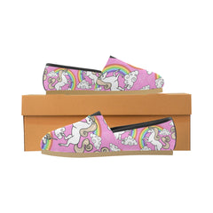 Unicorn With Rainbow And Clouds Women's Casual Shoes (Model 004)