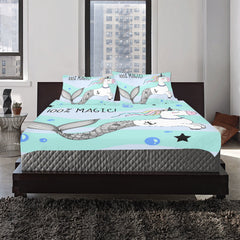 Unicorn With A Mermaid Tail And A Rainbow Mane 3-Pieces Bedding Set