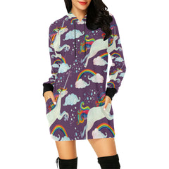 Watercolor Fairy Tale With Flying Unicorn All Over Print Hoodie Mini Dress