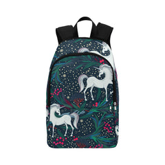 Fairy magic seamless vector pattern with unicorns Fabric Backpack for Adult (Model 1659)