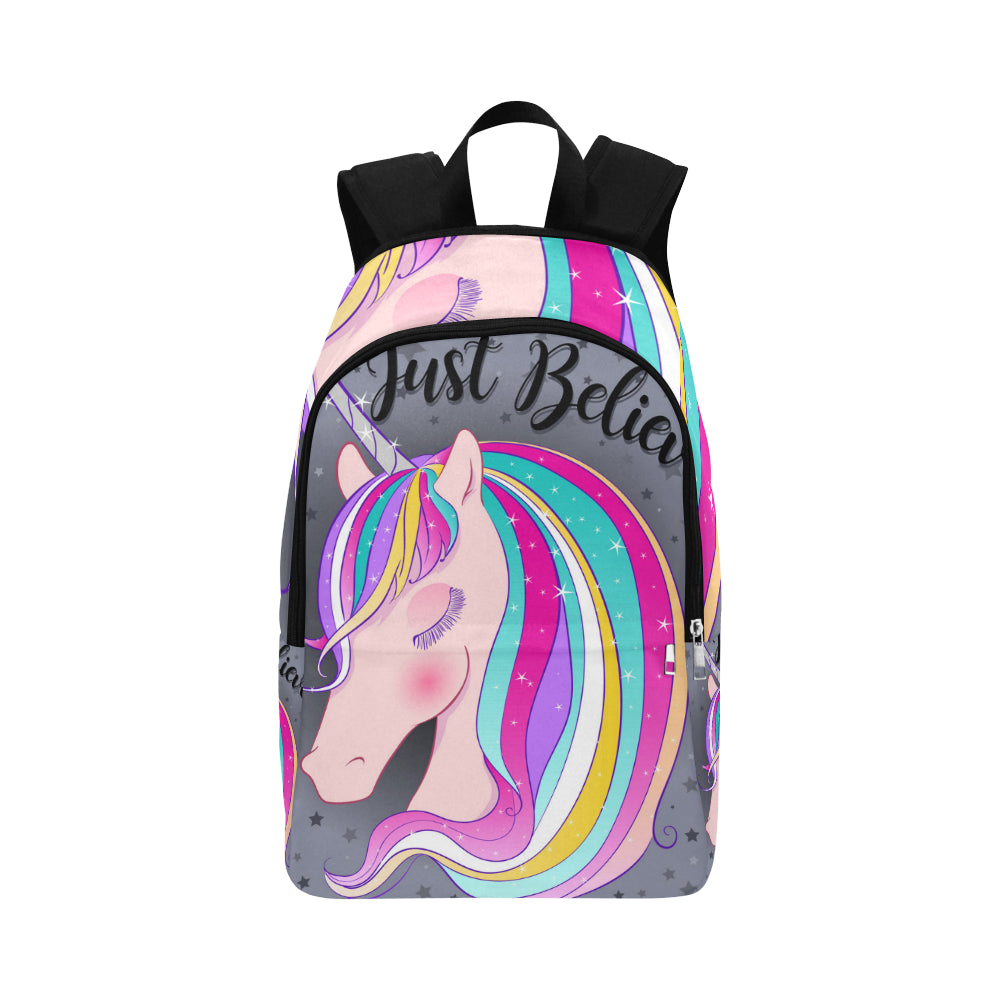 just believe cute magical unicorn Fabric Backpack for Adult (Model 1659)