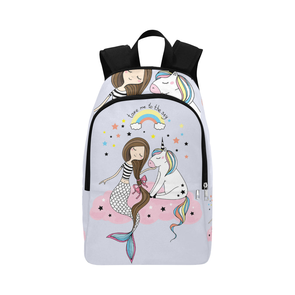 unicorn and mermaid Fabric Backpack for Adult (Model 1659)