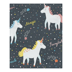 Cute Smiling Unicorns Star And Words 3-Pieces Bedding Set