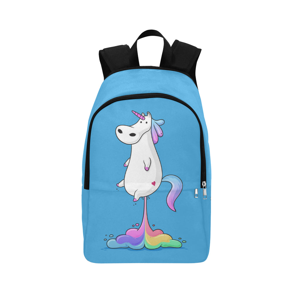 Cute fat unicorn farting rainbow Fabric Backpack for Adult