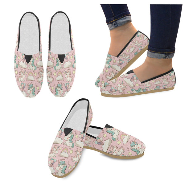Vector Pattern With Cute Unicorns Women's Casual Shoes (Model 004)