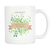 Happy Mothers Day 11 Oz White Mug With Hand Drawn Watercolor Leaves Design