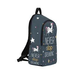 Never Stop Dreaming and Unicorn Fabric Backpack for Adult (Model 1659)