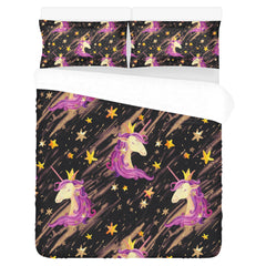 Watercolor Unicorn Seamless Pattern 3-Pieces Bedding Set