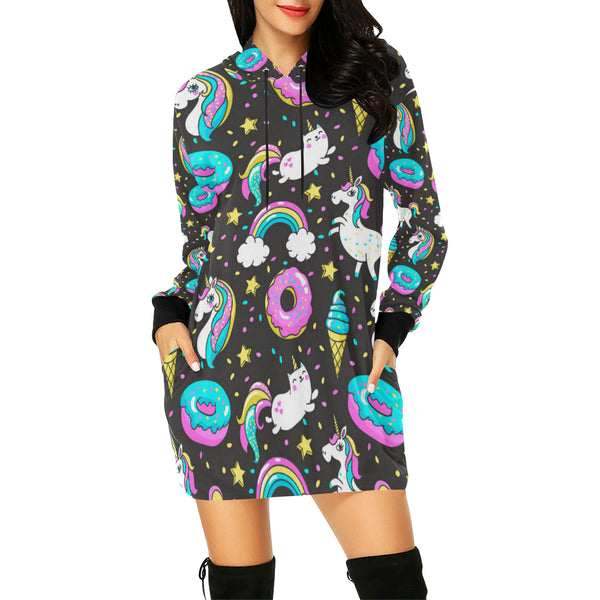 Seamless Pattern With Unicorns Donuts Rainbow All Over Print Hoodie Mini Dress