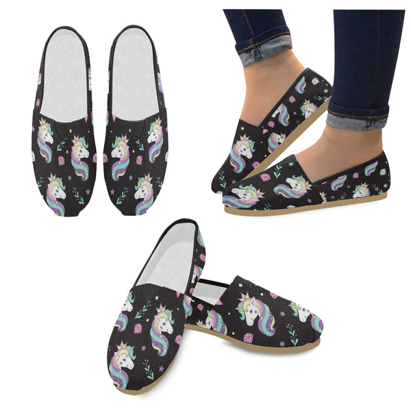 Beautiful Unicorns And Diamonds Women's Casual Shoes (Model 004)