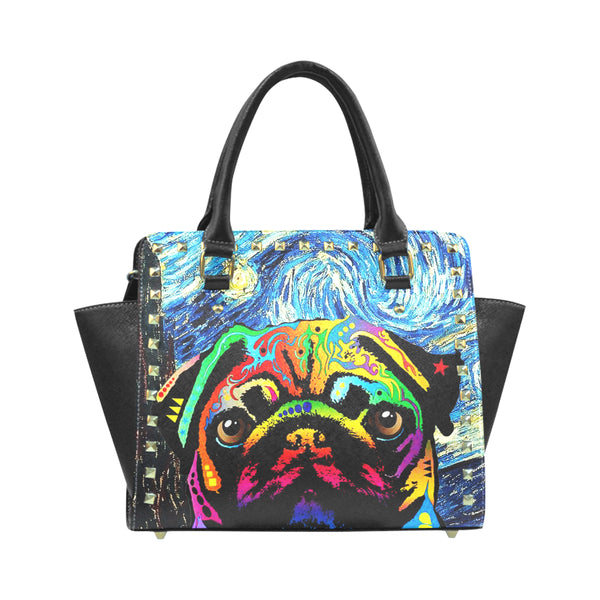 Pug Dog Rivet Shoulder Handbag