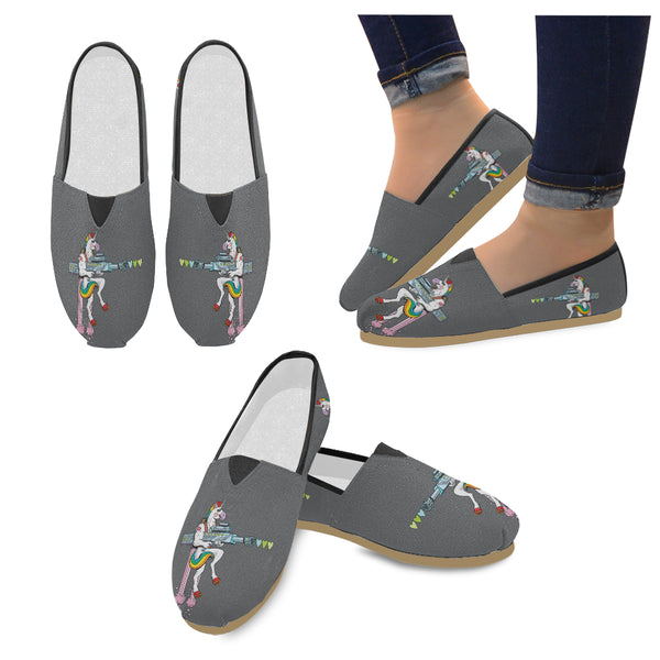 Unicorn Soldier Character Shooting Hearts Women's Casual Shoes (Model 004)