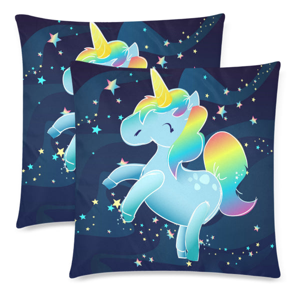 "Unicorn In Space Custom Zippered Pillow Cases 18""x 18"" (Set of 2)"