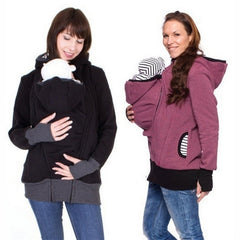 Long Sleeve Zipped Maternity Hoodie With Baby Carrier