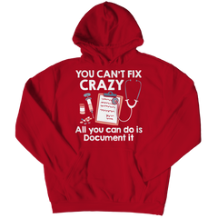 you can't fix crazy red unisex hoodie