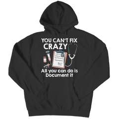 you can't fix crazy black unisex hoodie