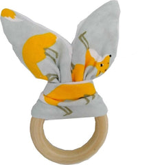 Baby Boy Bunny Ear Teether - Safe Organic Wood Teething Ring