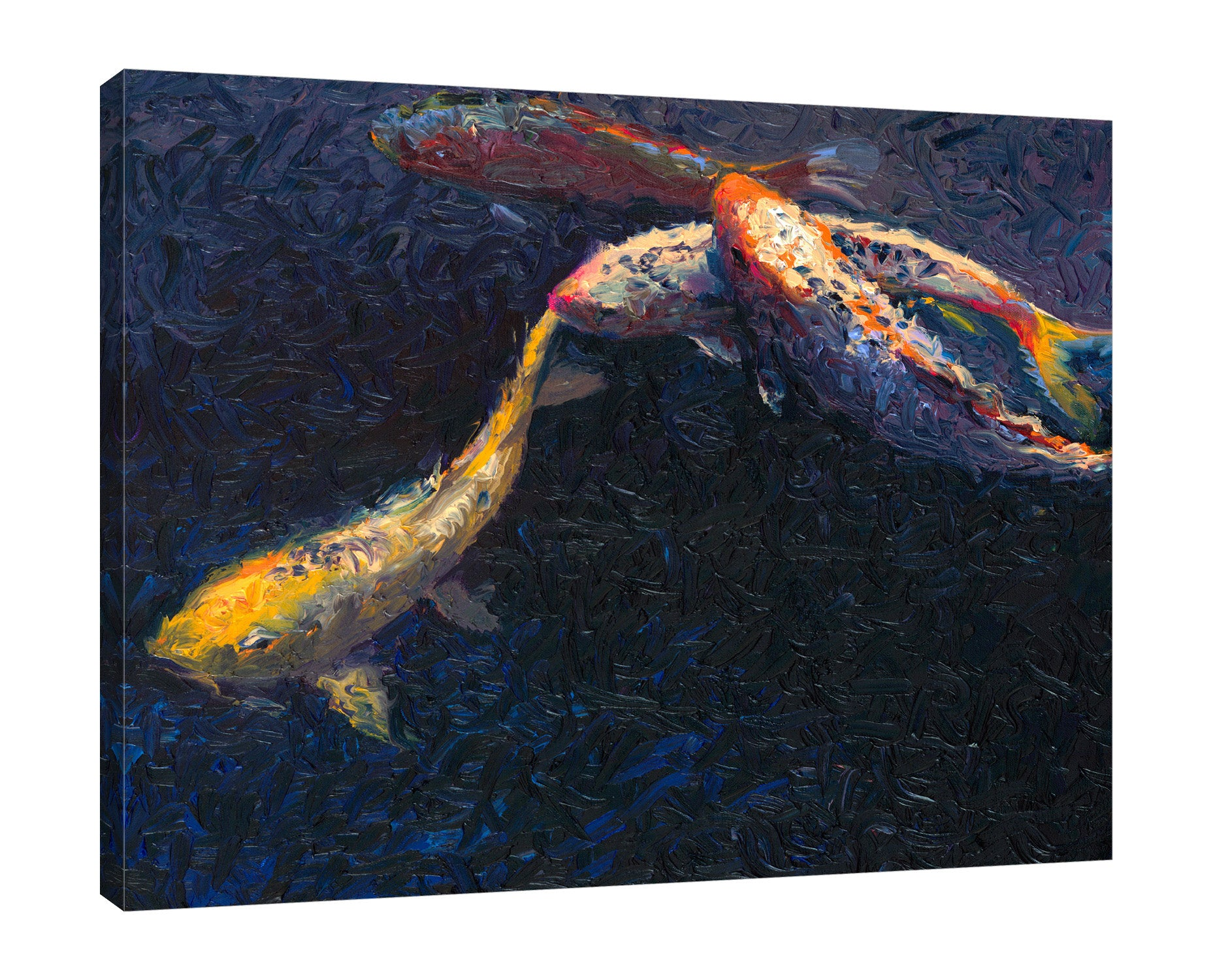 Iris-Scott,Modern & Contemporary,Animals,Landscape & Nature,Abstract,Impressionism,surreal,finger paint,animal,nature,ocean,nautical,fish,sea,carp,koi,night,
