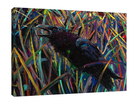 Iris-Scott,Modern & Contemporary,Animals,Landscape & Nature,Abstract,Impressionism,surreal,finger paint,animal,nature,landscape,bird,forest,raven,