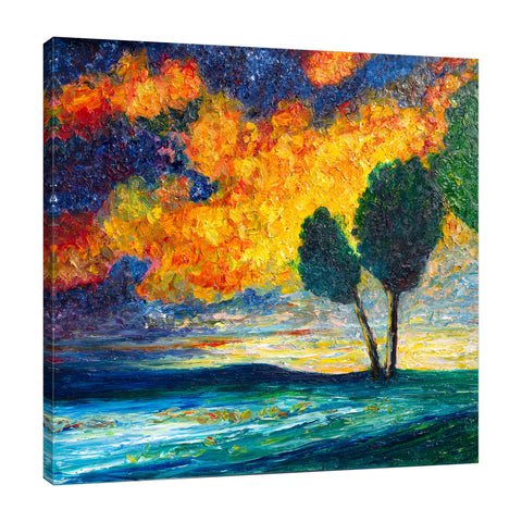 Chiara-Magni,Modern & Contemporary,Landscape & Nature,Finger-paint,trees,tree,blue,clouds,skies,landscape,nature,night,orange,
