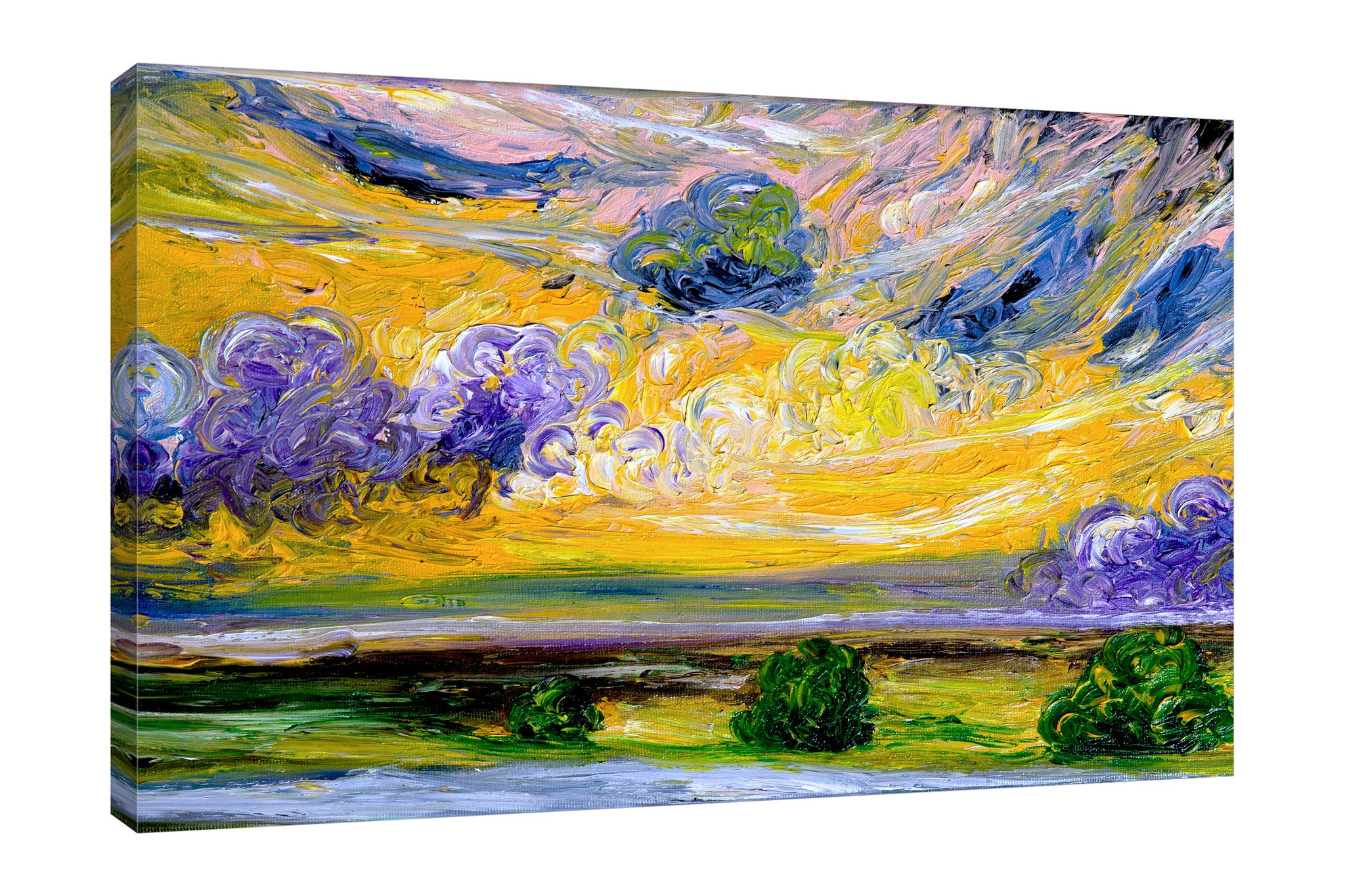 Chiara-Magni,Modern & Contemporary,Landscape & Nature,Finger-paint,landscape,scenery,trees,swirls,clouds,skies,dreamy,brush strokes,violet,yellow,green,blue,