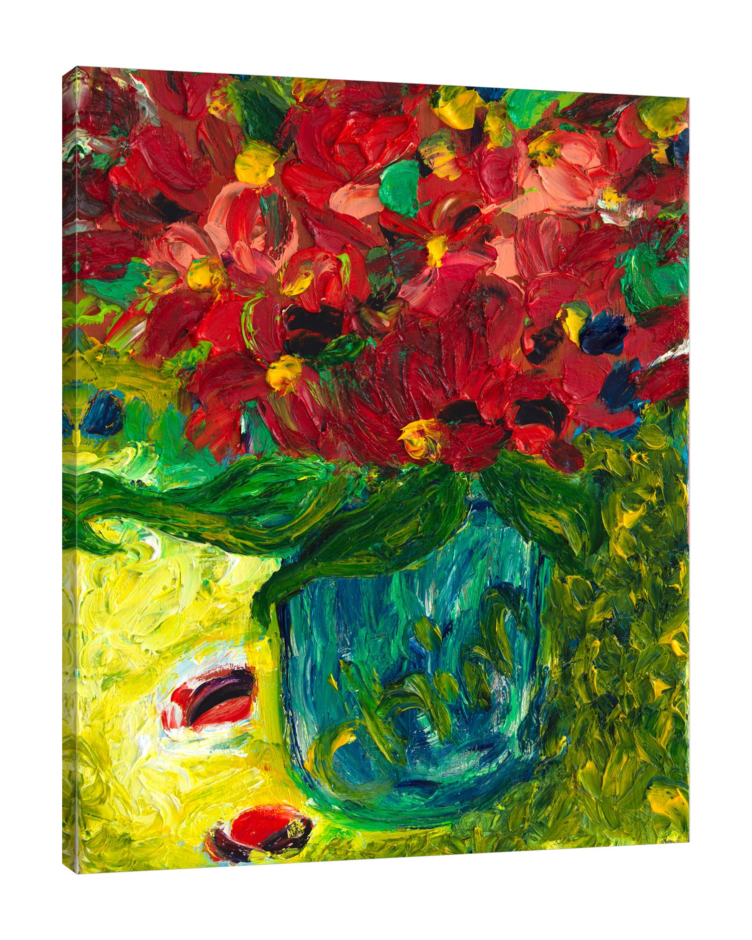 Chiara-Magni,Modern & Contemporary,Floral & Botanical,Finger-paint,florals,floral,flowers,flower,petals,leaves,yellow,bouquets,vases,petals,green,red,