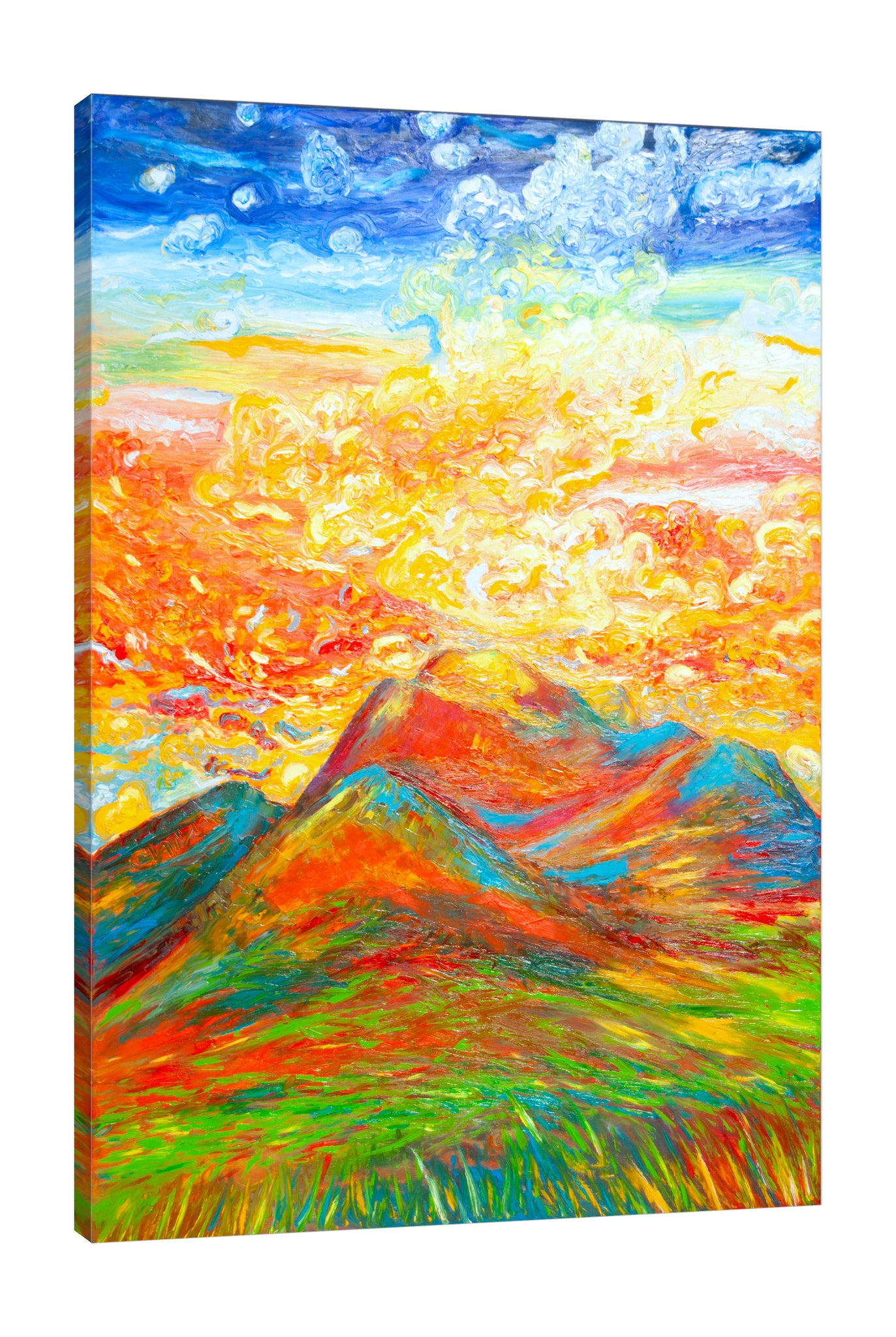 Chiara-Magni,Modern & Contemporary,Landscape & Nature,Finger-paint,clouds,scenery,mountains,skies,blue,yellow,orange,red,green,grass,portrait,