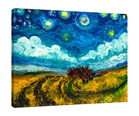 Chiara-Magni,Modern & Contemporary,Landscape & Nature,Finger-paint,landscape,scenery,dreamy,clouds,skies,stars,yellow,swirl,trees,blue,