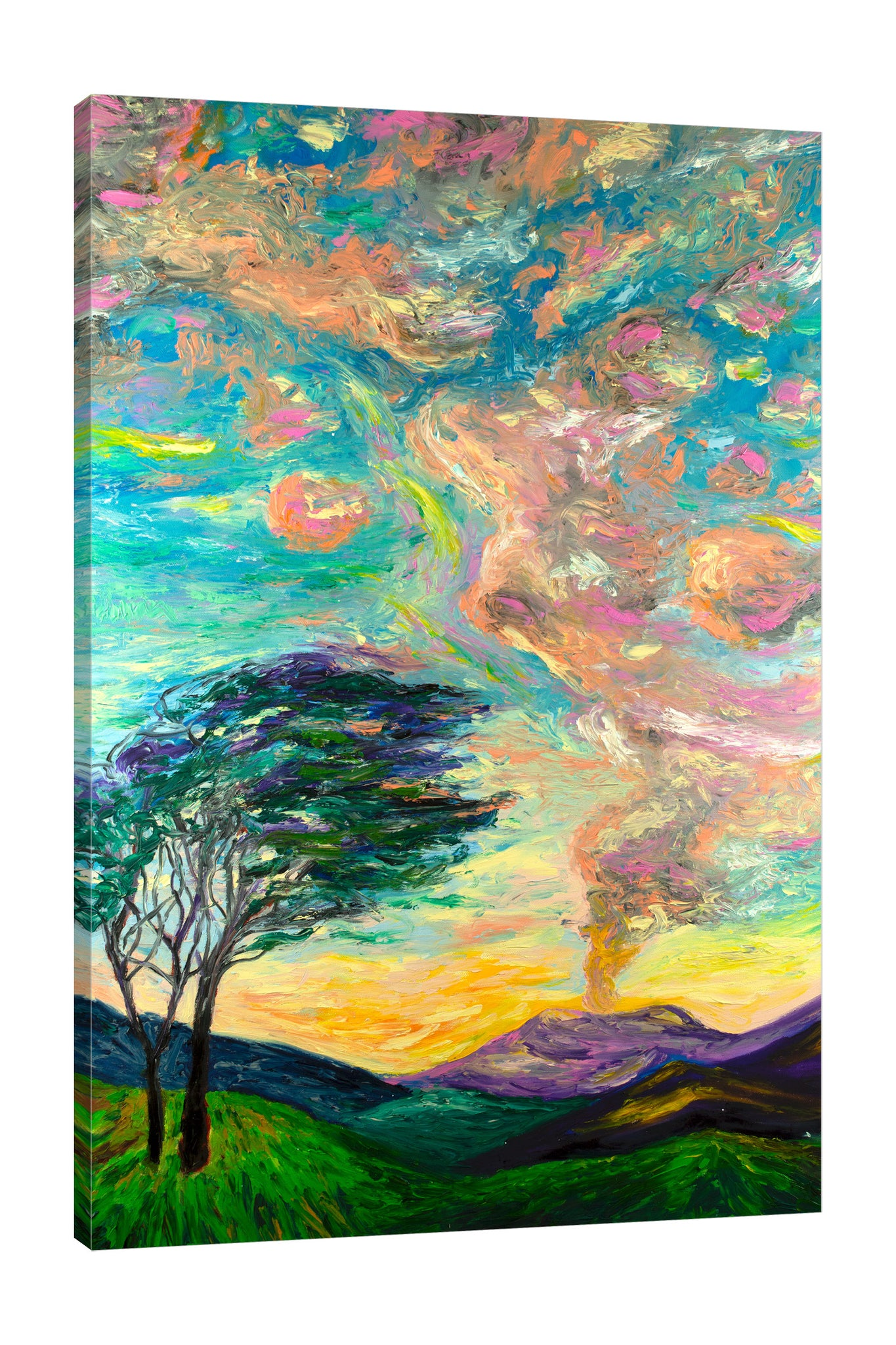 Chiara-Magni,Modern & Contemporary,Landscape & Nature,Finger-paint,trees,portrait,clouds,skies,mountain,green,teal,tree,