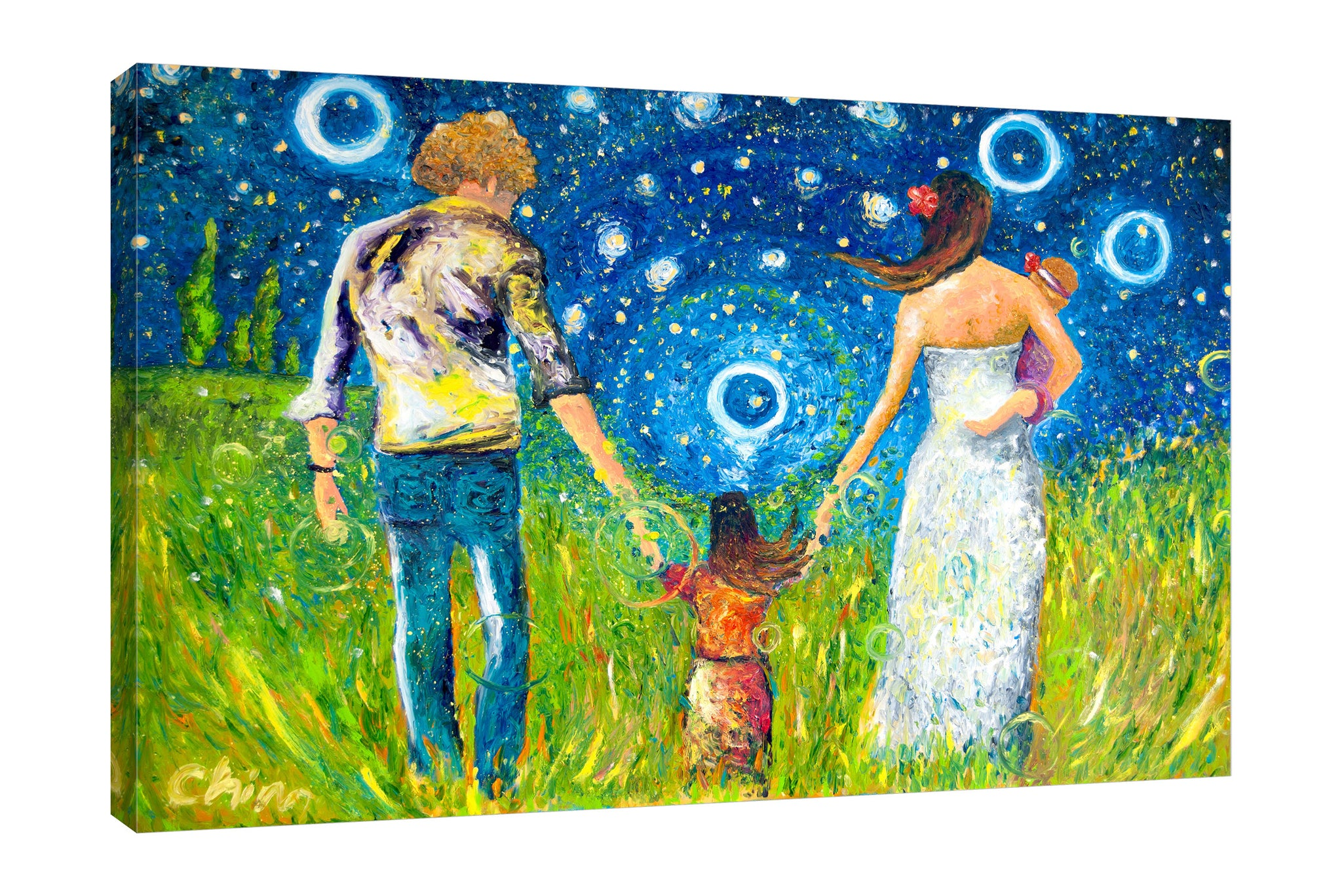 Chiara-Magni,Modern & Contemporary,People,Landscape & Nature,Finger-paint,family,mother,father,daughter,people,night,stars,circles,grass,trees,scenery,landscape,