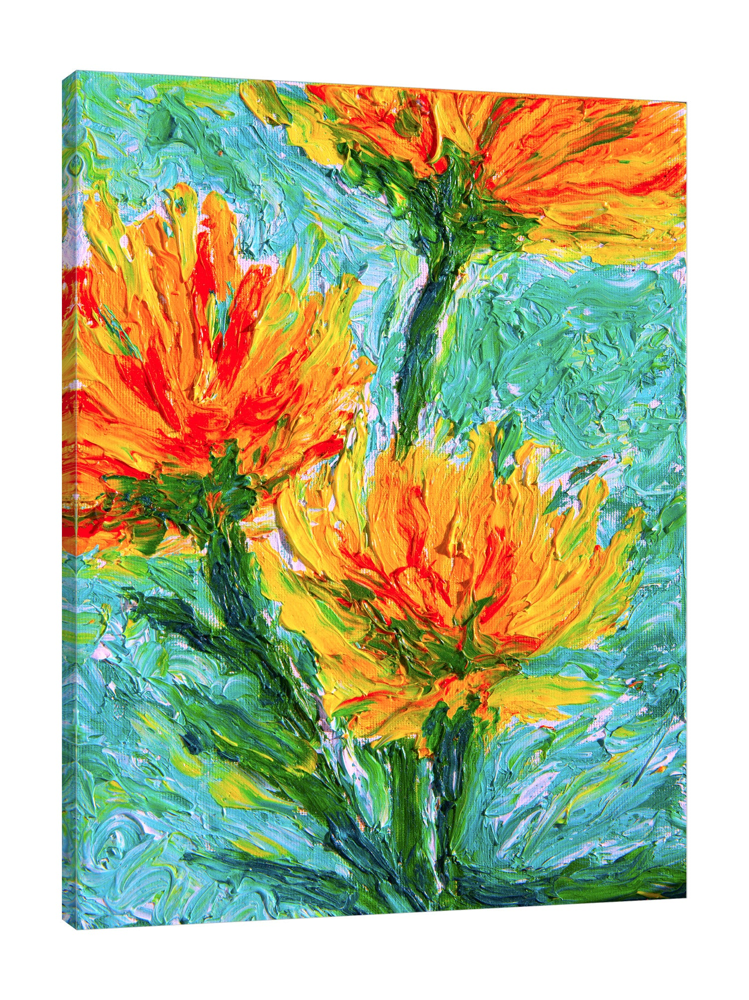 Chiara-Magni,Modern & Contemporary,Floral & Botanical,Finger-paint,florals,flowers,floral,flower,botanical,yellow,orange,red,green,strokes,