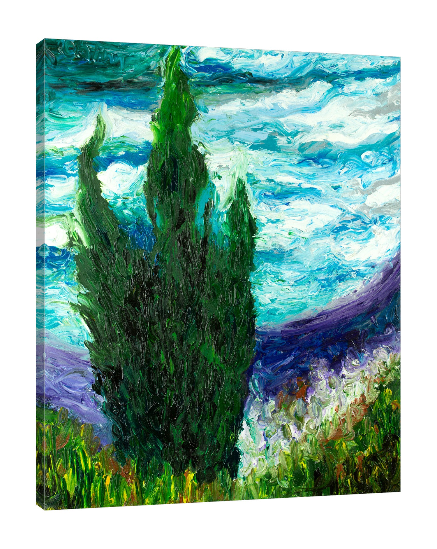 Chiara-Magni,Modern & Contemporary,Landscape & Nature,Finger-paint,trees,tree,mountains,mountain,grass,blue,skies,clouds,portrait,