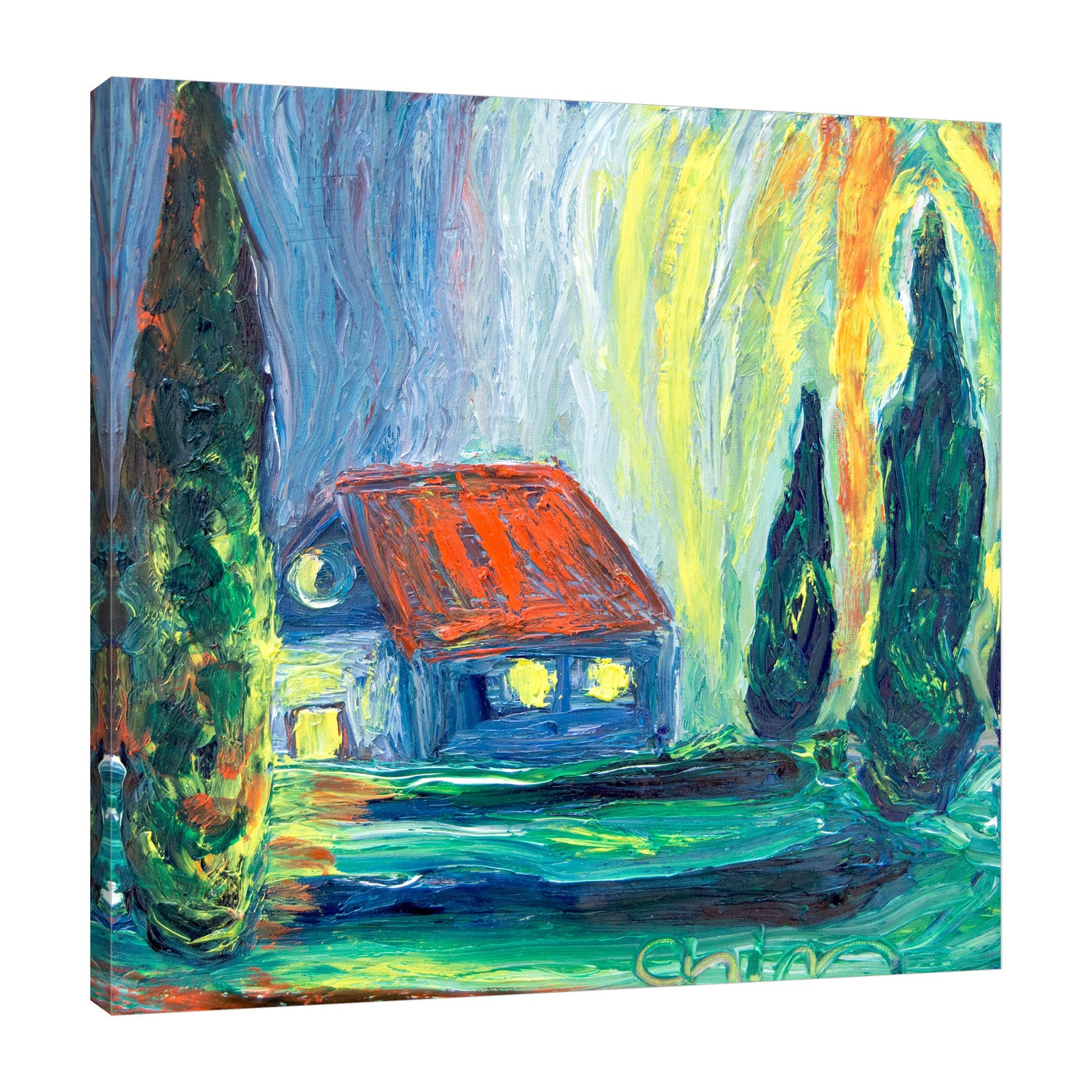 Chiara-Magni,Modern & Contemporary,Landscape & Nature,Finger-paint,house,houses,home,trees,garden,blue,green,yellow,orange,