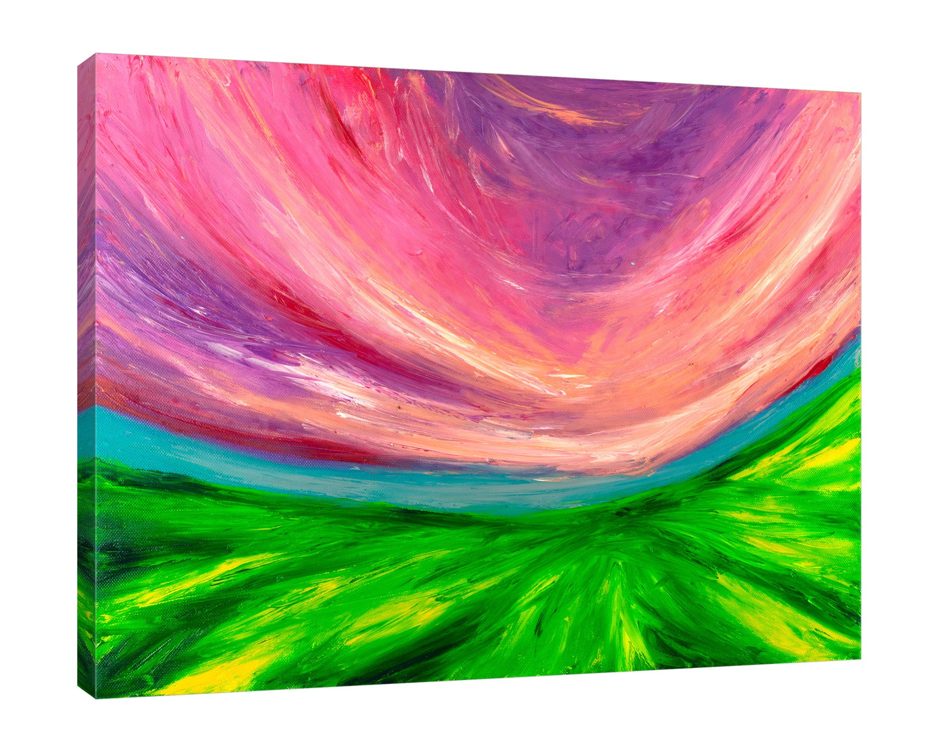 Chiara-Magni,Modern & Contemporary,Abstract,Landscape & Nature,Finger-paint,pink,green,skies,blue,fields,violet,lines,abstract,