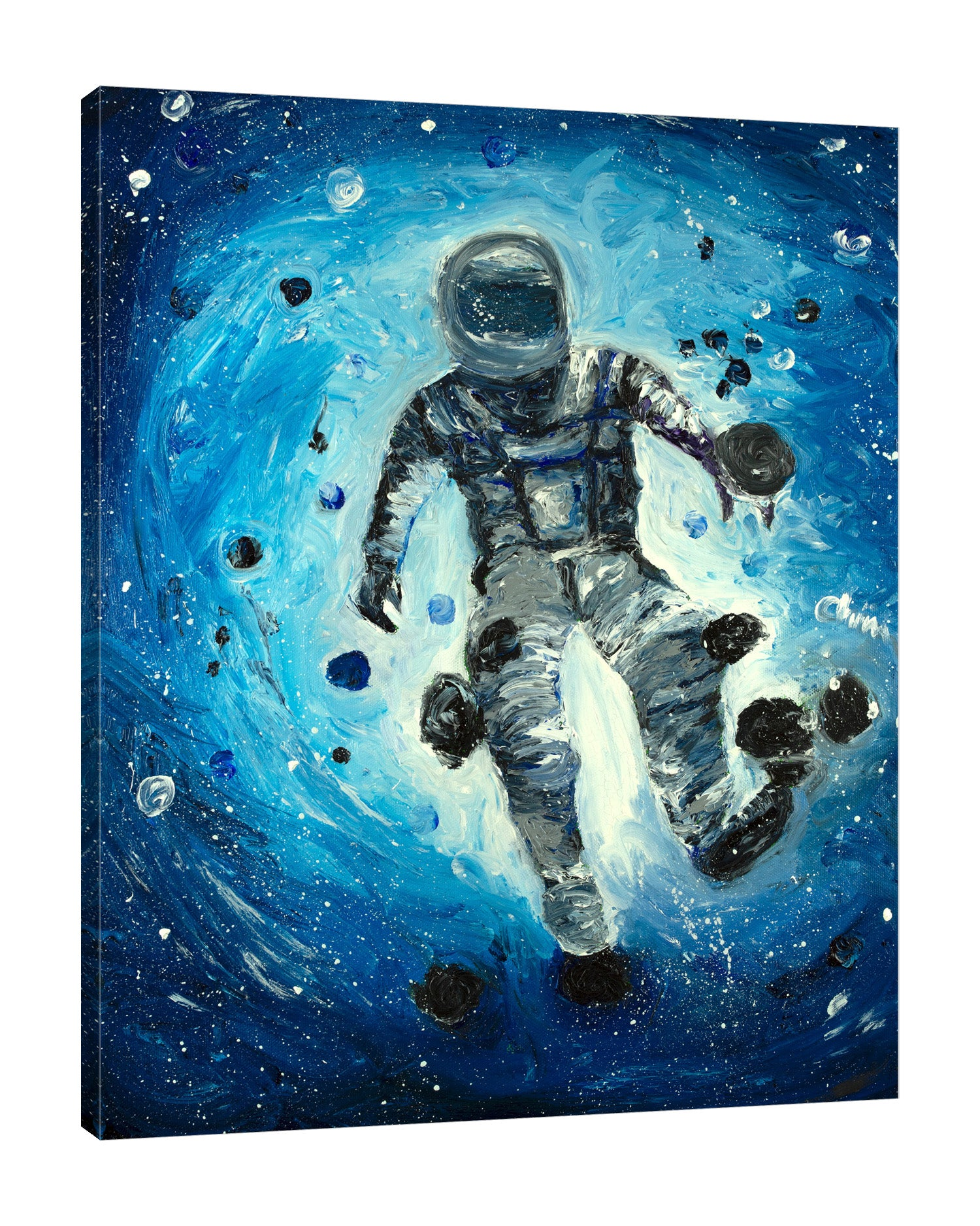 Chiara-Magni,Modern & Contemporary,Fantasy & Sci-Fi,People,Finger-paint,astronaut,astronauts,suits,rocks,galaxies,galaxy,rock,stars,space,blue,white,suit,