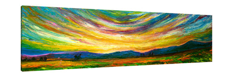 Chiara-Magni,Modern & Contemporary,Landscape & Nature,Finger-paint,skies,landscape,mountains,green,fields,trees,