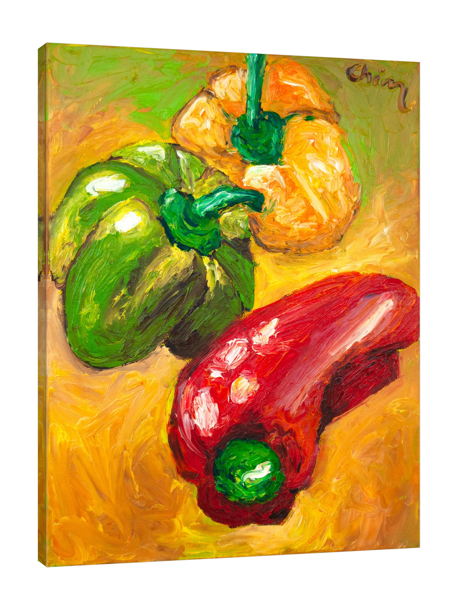 Chiara-Magni,Modern & Contemporary,Food & Beverage,Finger-paint,food,vegetable,peppers,pepper,red,yellow,green,
