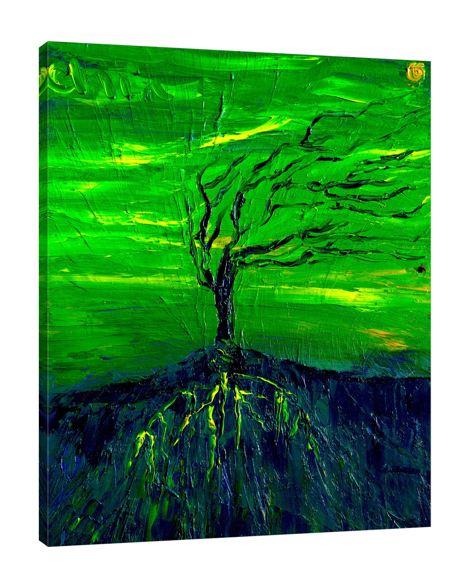Chiara-Magni,Modern & Contemporary,Landscape & Nature,Finger-paint,green,tree,branch,black,blue,yellow,