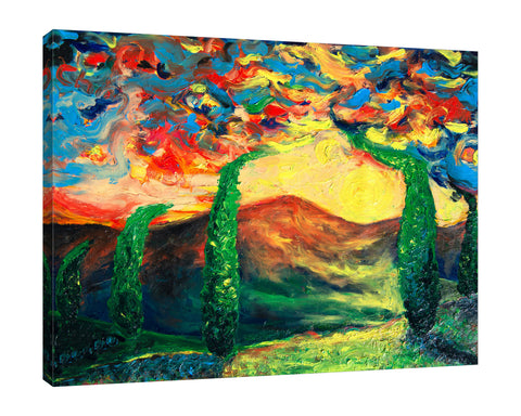 Chiara-Magni,Modern & Contemporary,Landscape & Nature,Finger-paint,trees,mountains,sun,landscape,skies,blue,green,