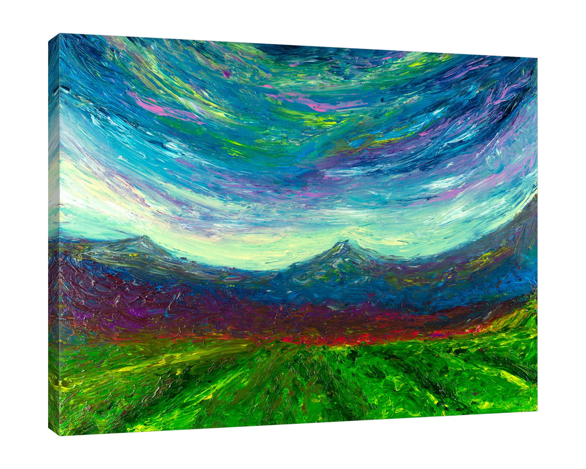 Chiara-Magni,Modern & Contemporary,Landscape & Nature,Finger-paint,blue,mountains,green,farm,landscape,white,red,skies,