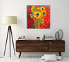 Chiara-Magni,Modern & Contemporary,Floral & Botanical,Finger-paint,flowers,flower,florals,floral,bouquets,bouquet,red,yellow,sunflowers,sunflower,dots,