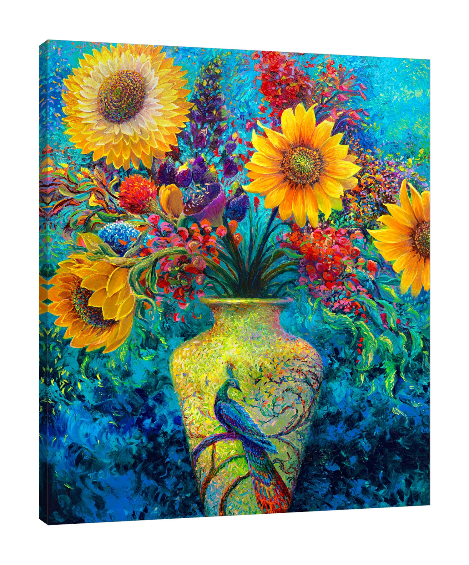 Iris-Scott,Modern & Contemporary,Floral & Botanical,Animals,sunflowers,sunflower,vases,vase,vessel,vessels,animals,animal,peacocks,peacock,blue,black,tree,flowers,flower,florals,floral,bouquets,bouquet,leaves,leaf,black,blue,yellow,