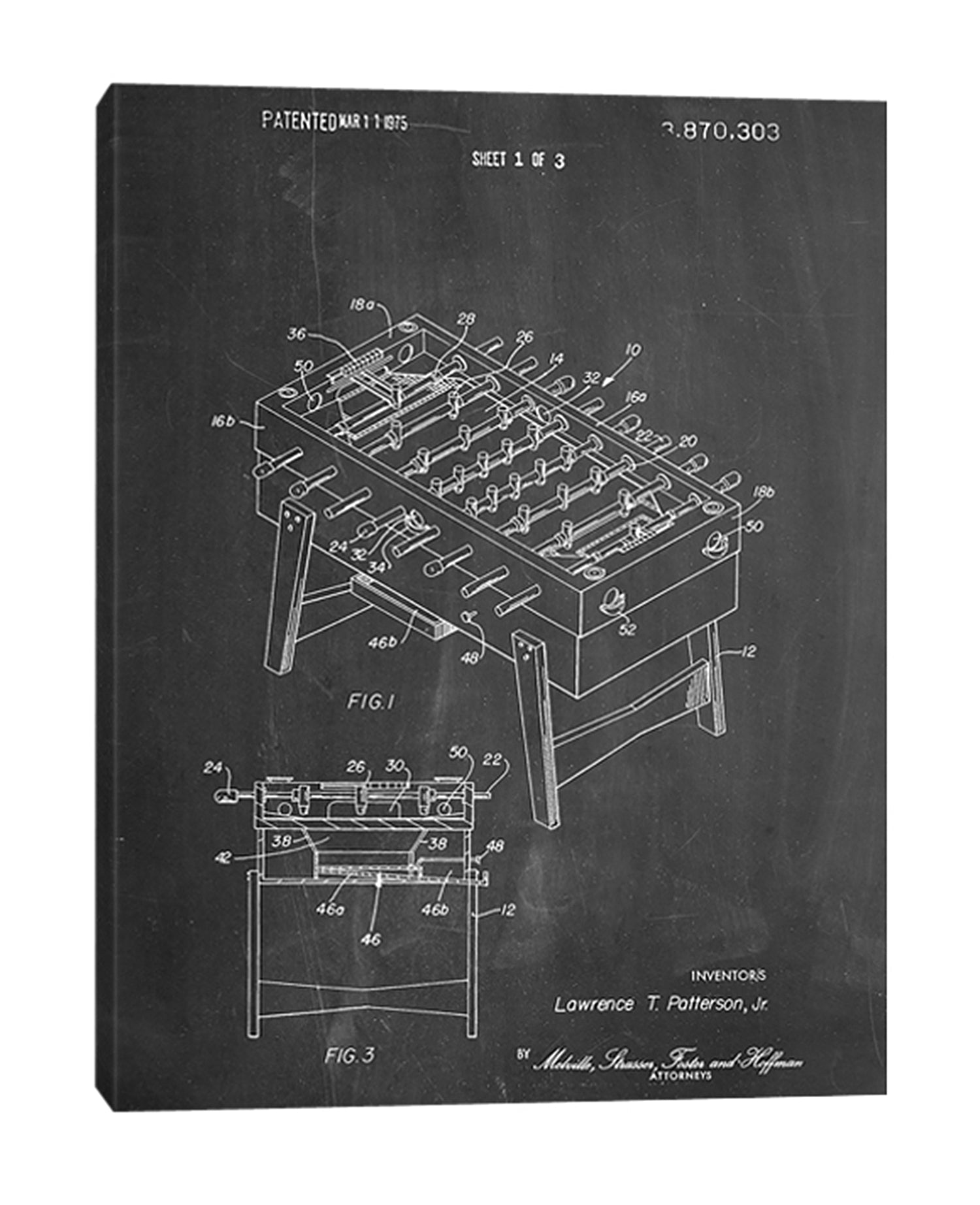 Cole-Borders,Modern & Contemporary,Entertainment,fooseballs,foose,drawings,sketches,hobbies,patented,numbers,Red,Blue,Charcoal Gray,Slate Gray,Green,Black