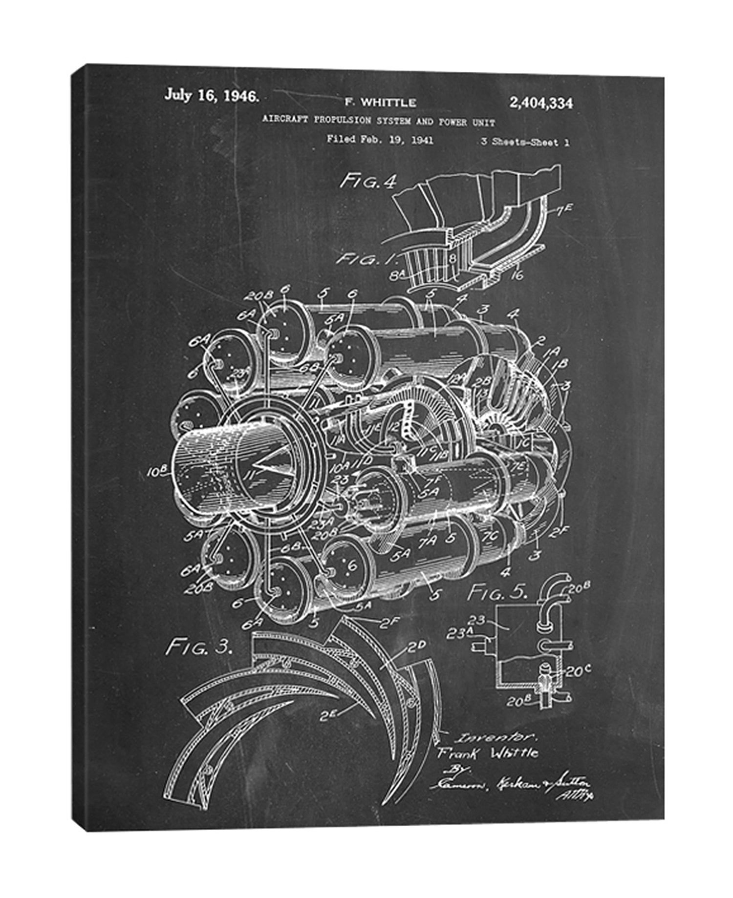 Cole-Borders,Modern & Contemporary,Transportation,jet engine,engines,jets,blueprints,patented,words and phrases,numbers,drawing,sketches,Charcoal Gray,Black,Teal Blue,Gray,White
