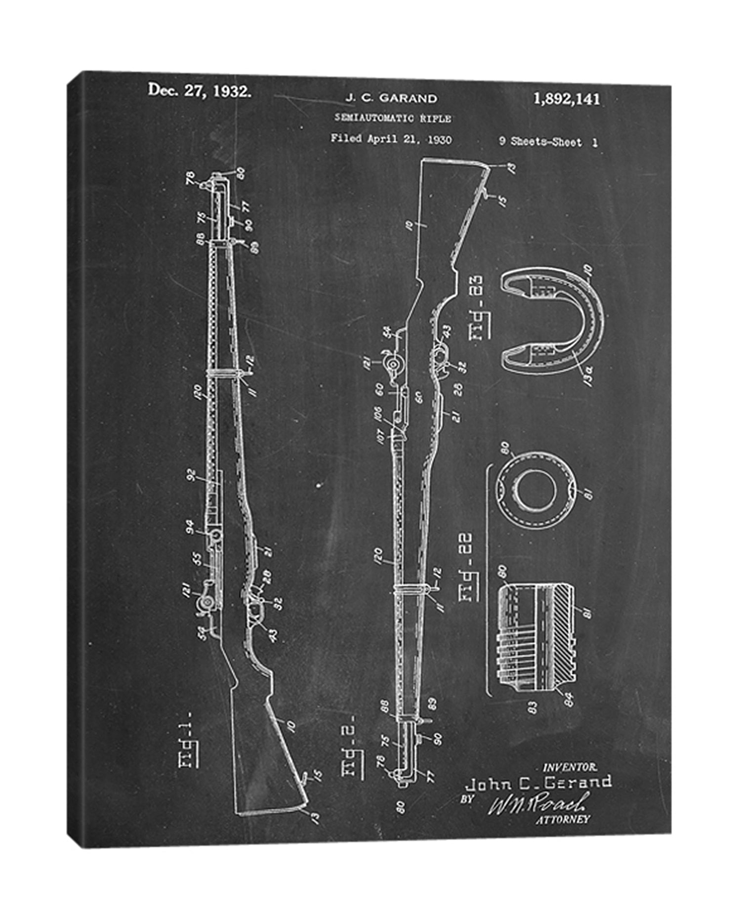 Cole-Borders,Modern & Contemporary,Entertainment,m1 rifle,rifles,guns,numbers,blueprints,patented,words and phrases,parts,Blue,Charcoal Gray,Slate Gray,White,Black