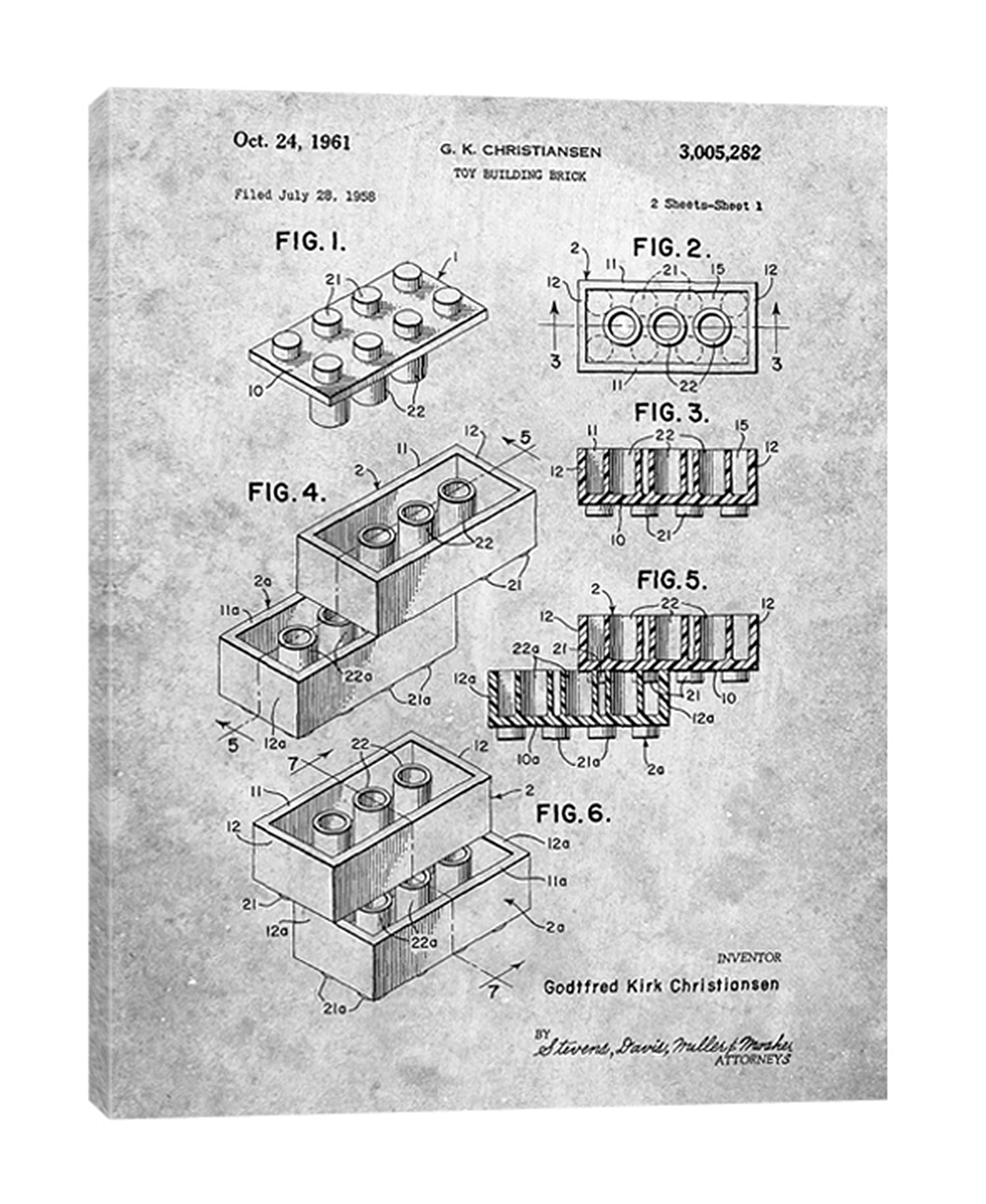 Cole-Borders,Modern & Contemporary,Entertainment,toy brick,bricks,toy building bricks,patented,blueprint,words and phrases,drawing,sketches,Purple,Charcoal Gray,White,Gray